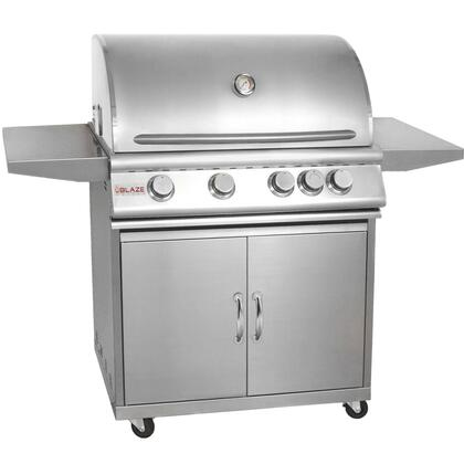 Blaze 32-Inch 4-Burner Propane Gas Grill With Rear Infrared Burner On Cart - BLZ-4-LP 2859458