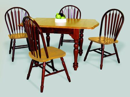 Sunset Selections Collection DLU-TDX3472-820-NLO5PC 5 Piece Drop Leaf Extension Dining Set with Rectangular Table + 4 Arrowback