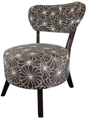 "Xeni 96120 26"" Accent Chair with Ergonomic Design  Floral Print  Tapered Legs  Solid Wood Frame and Fabric Upholstery in Brown"