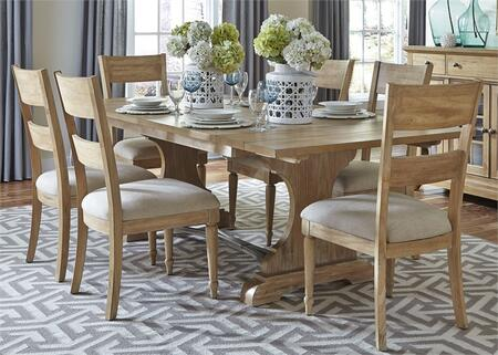 Harbor View Collection 531-DR-7TRS 7-Piece Dining Room Set with Trestle Table and 6 Slat Back Side Chairs in Sand