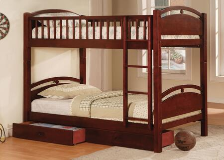 California I Collection CM-BK600CH-BED Twin Size Bunk Bed with 2 Drawers Included  Recessed Handles  10 PC Slats Top and Bottom  Solid Pine and Plywood Veneers