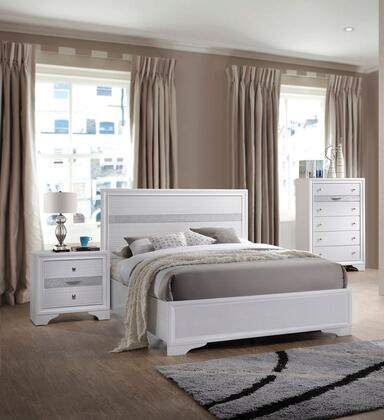 Naima Collection 25760T3SET 3 PC Bedroom Set with Twin Size Bed  Chest and Nightstand in White