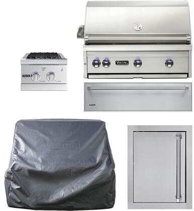 5-Piece Stainless Steel Outdoor Kitchen Package with VQGI5360NSS 36 inch  Built-In Natural Gas Grill  Side Burner  Access Door  Storage Drawer and Grill