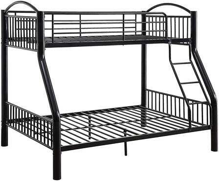 Cayelynn Collection 37380BK Twin Over Full Size Bed with Built-in Front Ladder  Easy Access Guard-Rail  Slatted Panels  Slat System Included and Metal Tube
