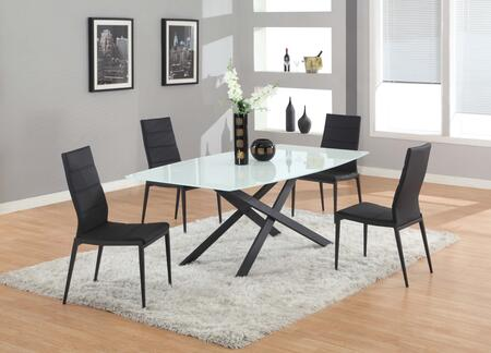 JACKIE-5PC-BLK JACKIE DINING 5 Piece Set - Tempered Starphire Super White Glass Table Top / Black Metal