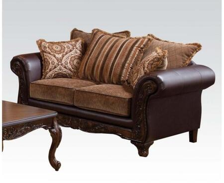 Fairfax Collection 52366 71 inch  Loveseat with Wood Frame  Made in USA  Loose Cushions  Accents Pillows Included and Bonded Leather Upholstery in Bomber Chocolate