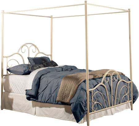 Dover 1965BK King Sized Bed with Headboard  Footboard  Canopy  Legs  Frame and Scroll Design in Cream