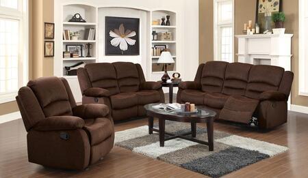 Bailey 51030SLR 3 PC Living Room Set with Sofa + Loveseat + Recliner in Chocolate Velvet