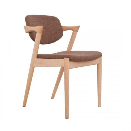 Levanger FEC7629TWBRN Arm Chair with Solid Wood Base  Tapered Legs and Fabric Upholstery in Walnut and Twill