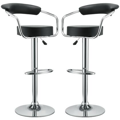 Diner Collection EEI-930-BLK Set of 2 Bar Stools with 360-Degree Swivel Seat  Adjustable Height  Pedestal Base  Footrest Support  Steel Frame and Vinyl