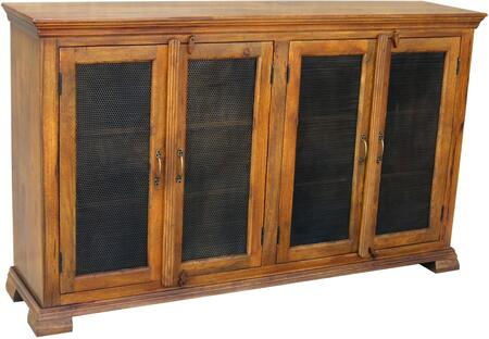Laythem 13415 70 inch  Console with Two Fixed Shelves  Wire Management and Iron Mesh Door Fronts in