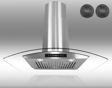 GWR73C36 36 inch  Wall Mount Range Hood with 760 CFM  65 dB  Innovative Touch  2W LED Lighting  3 Fan Speed  Stainless Steel Baffle Filter and Ductless: Stainless