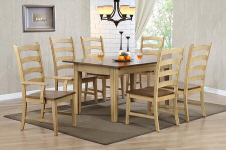 Brook Collection Dlu-br-tl-134-pw-t 7 Pc Dining Room Set With Dining Table + 6 Side