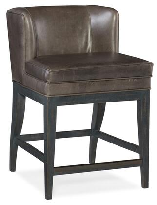 Jada 300-25057 Contemporary Counter Stool with Tapered Legs  Piped Stitching and Aniline Top Grain Leather Upholstery in Memento Medal
