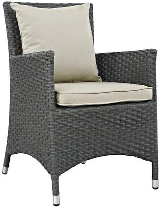 Sojourn Collection Eei-1924-chc-bei 25 Dining Outdoor Patio Sunbrella Armchair With Synthetic Rattan Weave  Powder Coated Aluminum Frame  Uv And Water