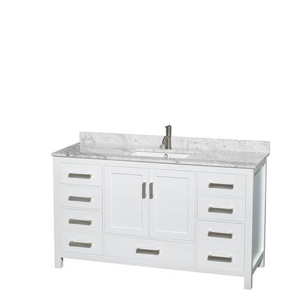 Wcs141460swhcmunsmxx 60 In. Single Bathroom Vanity In White  White Carrera Marble Countertop  Undermount Square Sink  And No
