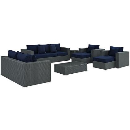 Sojourn Collection EEI-1881-CHC-NAV-SET 9-Piece Outdoor Patio Sunbrella Sectional Set with Loveseat  Sofa  Rectangle Ottoman  2 Armchairs  2 Ottomans and 2