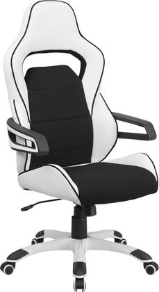 CH-CX0713H01-GG High Back White Vinyl Executive Swivel Office Chair with Black Fabric