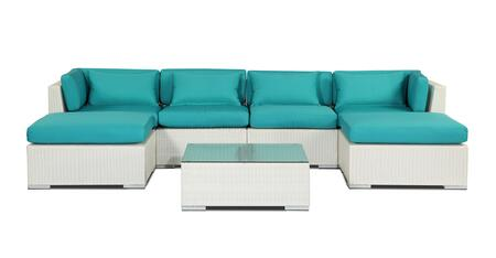 NAPALI7-WHT-TURQUOI Modern Outdoor Furniture Sofa Patio Modify-It Aloha Napali 7-Pc Set  White Wicker/Turquoise Cushions By Kardiel