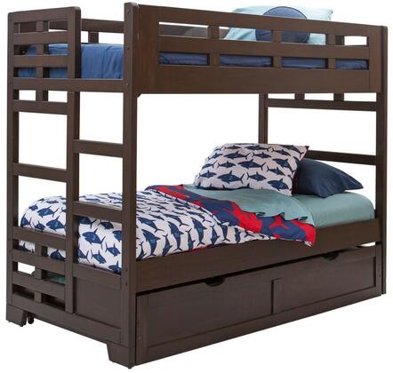 Billings 1840-33BNK-906 Twin over Twin Trundle Bunk Bed with Tenon and Mortis Construction  Built in Ladder and Indonesian Hardwoods in Dark