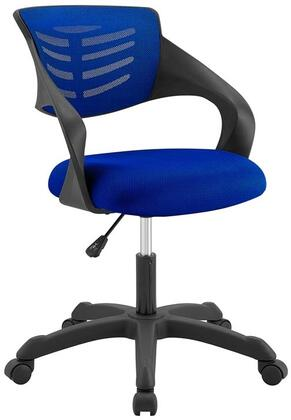 Thrive Collection EEI-3041-BLU Office Chair with 360-Degree Swivel Seat  5 Dual-Wheel Casters  Adjustable Height  Mesh Backrest  Durable Nylon Frame and Fabric