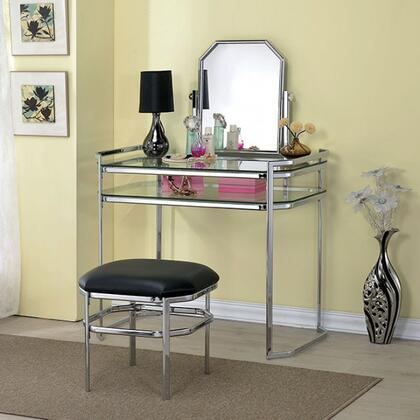 Colleen CM-DK6843CRM-PK Vanity with Stool  8mm Clear Tempered Glass Top and Shelf  Adjustable Mirror  Full Metal Construction in