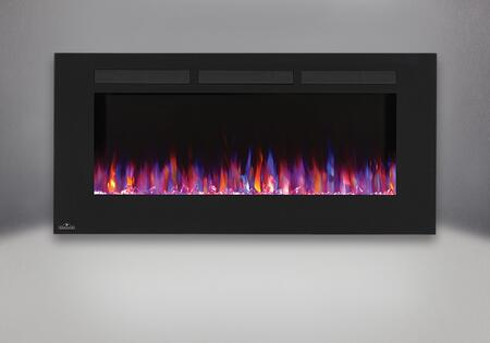 """Allure NEFL50FH 50"""" Linear Wall Mount Electric Fireplace with Glass Front  Front Vents  Clear Glass Embers and Heater with Up to 5 000 BTUs in"""