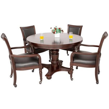 NG2348W Bridgeport 2-In-1 Poker Game Table Set - Walnut
