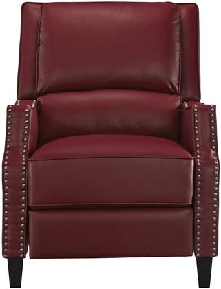 Alston Collection 4218837 30 inch  Recliner with Nail Head Accents  Tapered Legs  Splender Knee Cut Arms  Split Back Cushion and Bycast PU Leather Upholstery in Red