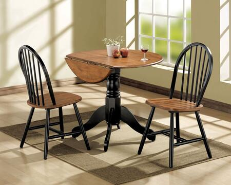 Mason Collection 00878 3 PC Dining Set with 2 Side Chairs  Extendable Table  Pedestal Base and Drop Leaves in Black and Cherry