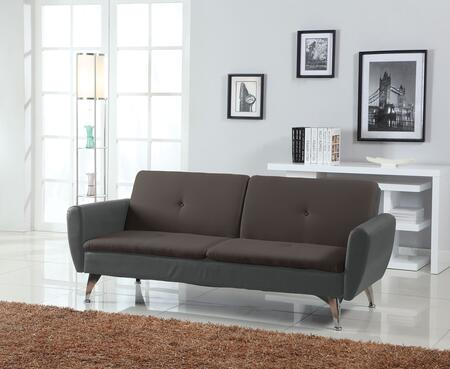 Kimber Collection 57132 76 inch  Adjustable Sofa with Tapered Metal Legs  Button Tufted Cushions  Bycast PU Leather and Linen Upholstery in Chocolate and Black