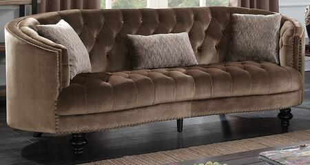 Manuela CM6145BR-SF Sofa with Turned Legs  Nail Head Accents and Flannelette Fabric Upholstery in
