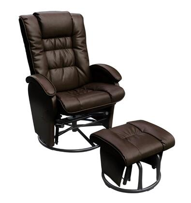 D80696OT06 Brown Reclining Glider  with Swivel and Locking Mechanism Complete with Free Ottoman - Bonded