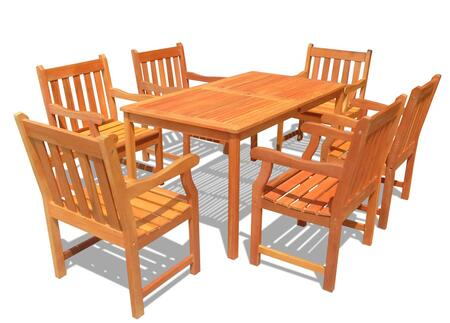 V98SET26 Outdoor Wood Balthazar Rectangular Table and 6 V209 Outdoor Wood