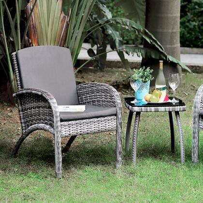 Juno CM-OT2130 3 Pc. Patio Seating Set with Contemporary Style  5mm Black Tempered  Glass Top  Removable Cushions in Gray Wicker/Gray Cushion/Black