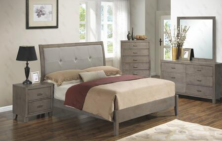 G1205aqbdmn 4 Piece Set Including  Queen Bed  Dresser  Mirror And Nightstand With Padded Headboard  Tapered Legs And Wood Frame In