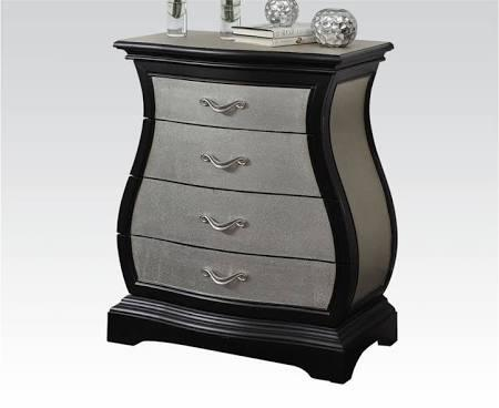 Mercia Collection 90087 Bombay Chest with 4 Drawers and Metal Hardware in Silver and Black