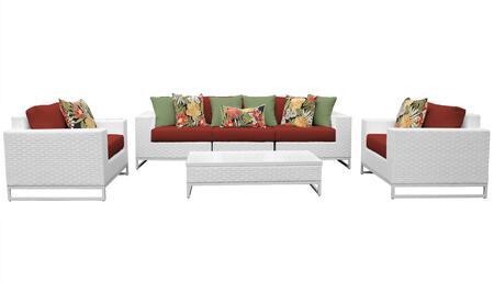 MIAMI-06e-TERRACOTTA Miami 6 Piece Outdoor Wicker Patio Furniture Set 06e with 2 Covers: Sail White and
