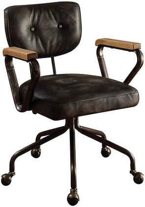 Hallie Collection 92411 Executive Office Chair with Swivel Seat  Tilt Backrest  5-Star Caster Base  Wooden Armrest  Metal Frame and Top Grain Leather