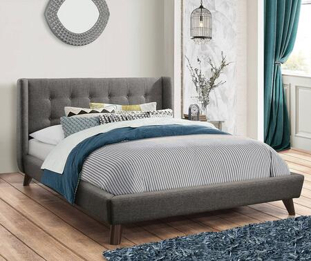 Carrington Collection 301061KW California King Size Bed with Woven Fabric Upholstery  Button Tufted Headboard and Low Profile Design in