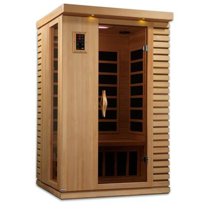 GDI-6273-01 77 inch  Near Zero EMF Far Infrared Sauna with 2 Person Capacity  6 Carbon Heating Elements  Exterior Ambient Lighting  and Radio with CD and MP3