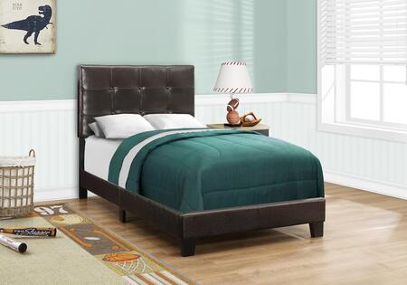 I 5922T Twin Bed with Faux Leather Upholstery  Button Tufted Headboard and Solid Wood Block Feet in Dark