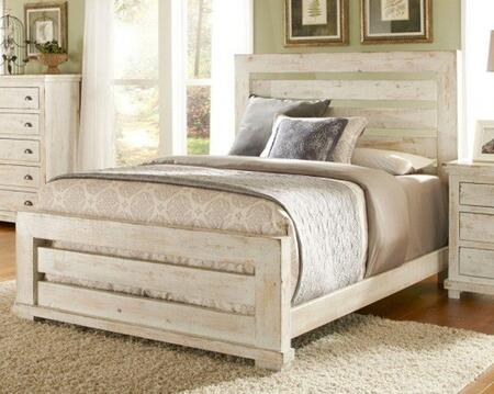 Willow P610-80-81-78 King Sized Slat Bed with Headboard  Footboard and Side Rails in Distressed