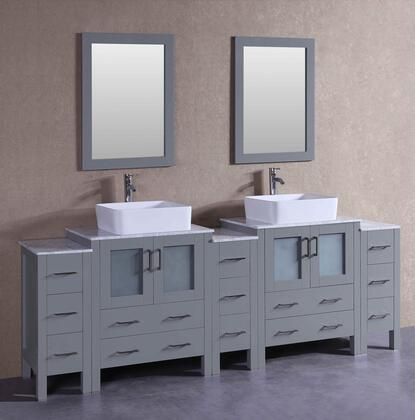 AGR230RCCM3S 96 inch  Double Vanity with Carrara Marble Top  Rectangle White Ceramic Vessel Sink  F-S02 Faucet  Mirror  4 Doors and 13 Drawers in