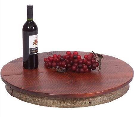 714003 Laisy Daisy with Full Wine Barrel Metal Ring on the Base  a Rough Sawn Wood Top and Ball Bearings in