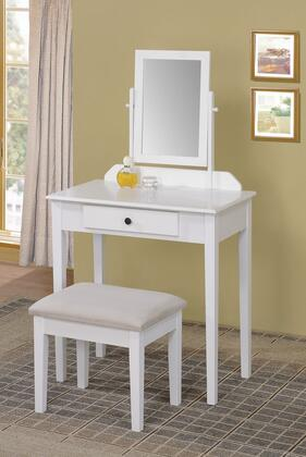 90043 Jamy 3 PC Vanity Set with 1 Drawer  Fabric Upholstered Stool  Adjustable Mirror and Tapered Legs in White