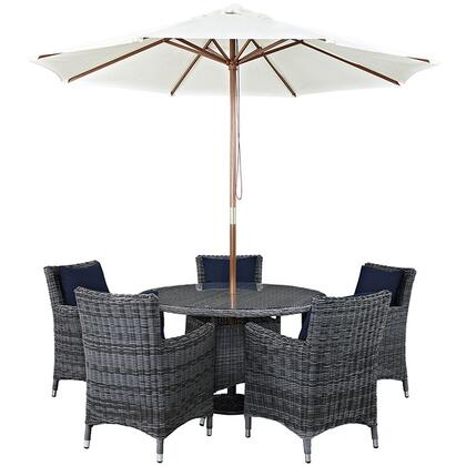 Summon Collection Eei-2328-gry-nav-set 7-piece Outdoor Patio Sunbrella Dining Set With 5 Armchairs  Dining Table And Umbrella In Canvas
