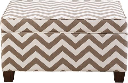 DS-2119-683-232 Chevron Upholstered Storage Ottoman with Safety Ventilation Holes  Interior Storage Compartment and Tapered Solid Wooden Legs in Taupe and