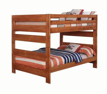 Wrangle Hill 460096 Full Over Full Bunk Bed with Slats Included  Full Length Guardrails and Solid American Ponderosa Pine Construction in Amber