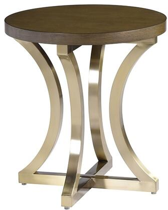 2140302GC Iris End Table with Grey Cherry Top and Brushed Champagne Stainless Steel